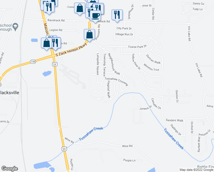 map of restaurants, bars, coffee shops, grocery stores, and more near 6065 Flagstaf Walk in McDonough