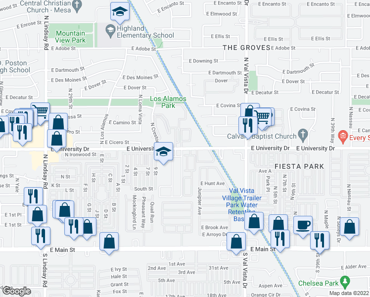 map of restaurants, bars, coffee shops, grocery stores, and more near 401-407 North University Place in Mesa