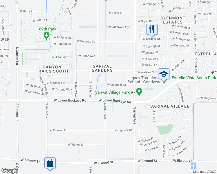 map of restaurants, bars, coffee shops, grocery stores, and more near 16441 West Magnolia Street in Goodyear