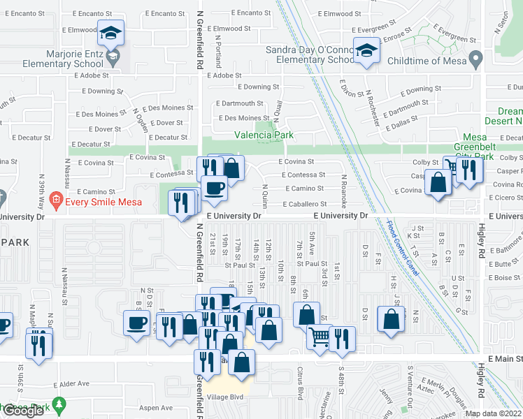 map of restaurants, bars, coffee shops, grocery stores, and more near 4553 East Caballero Circle in Mesa