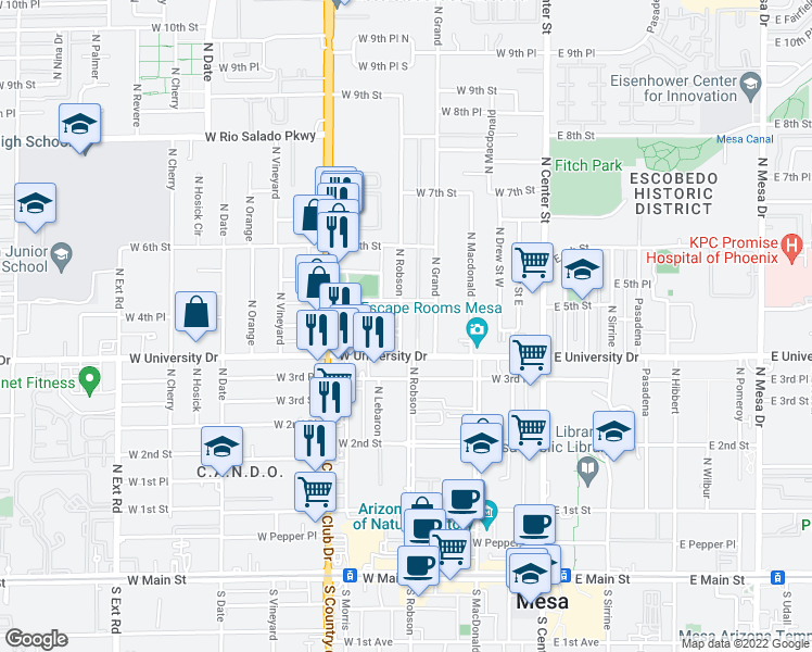 map of restaurants, bars, coffee shops, grocery stores, and more near 421 North Robson in Mesa