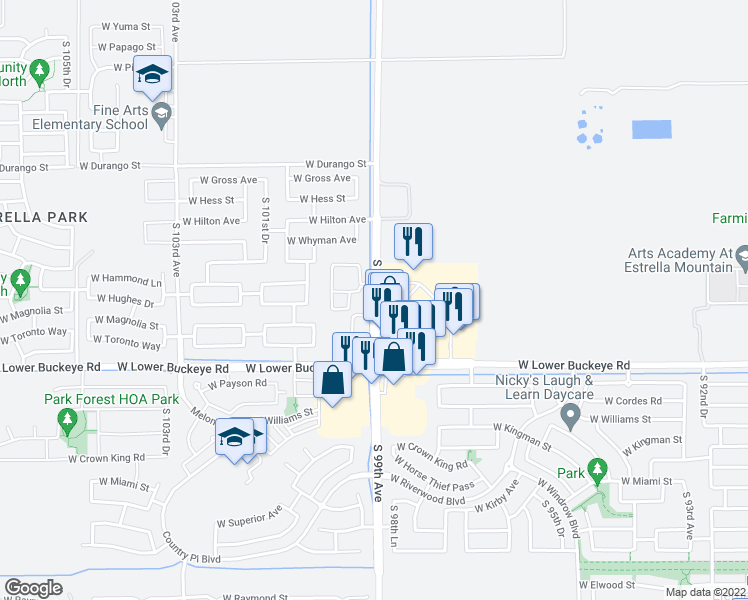 map of restaurants, bars, coffee shops, grocery stores, and more near 2500 South 99th Avenue in Tolleson