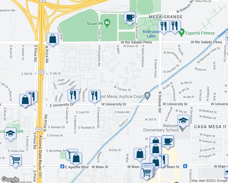 map of restaurants, bars, coffee shops, grocery stores, and more near 2354 West University Drive in Mesa