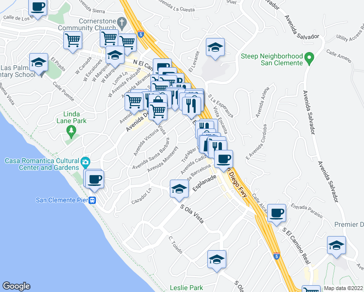 map of restaurants, bars, coffee shops, grocery stores, and more near 149 Avenida Algodon in San Clemente
