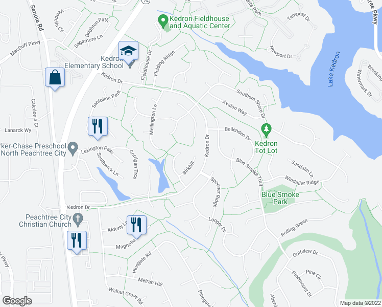 map of restaurants, bars, coffee shops, grocery stores, and more near 211 Birkhill in Peachtree City