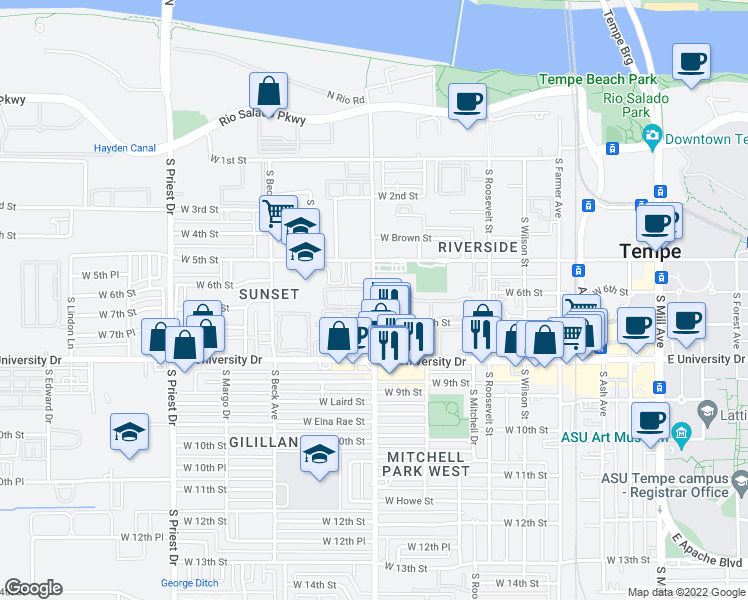 map of restaurants, bars, coffee shops, grocery stores, and more near West Apartment in Tempe