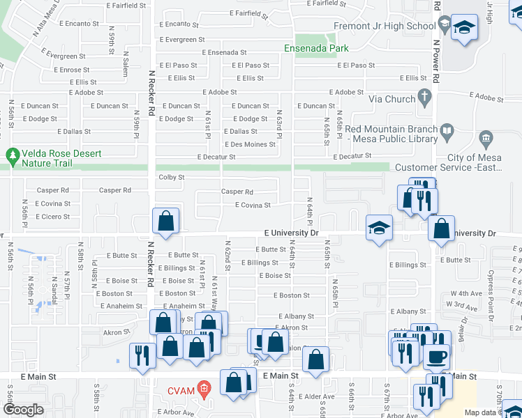 map of restaurants, bars, coffee shops, grocery stores, and more near 6307 East Covina Street in Mesa