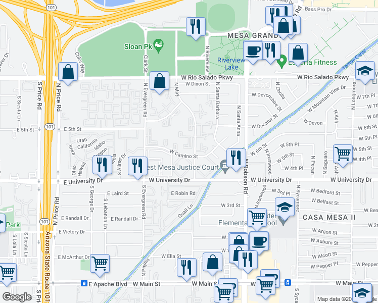 map of restaurants, bars, coffee shops, grocery stores, and more near 540 North May in Mesa