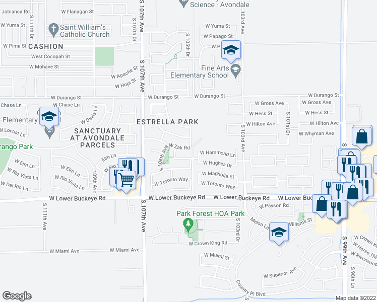 map of restaurants, bars, coffee shops, grocery stores, and more near 10507 West Zak Road in Tolleson