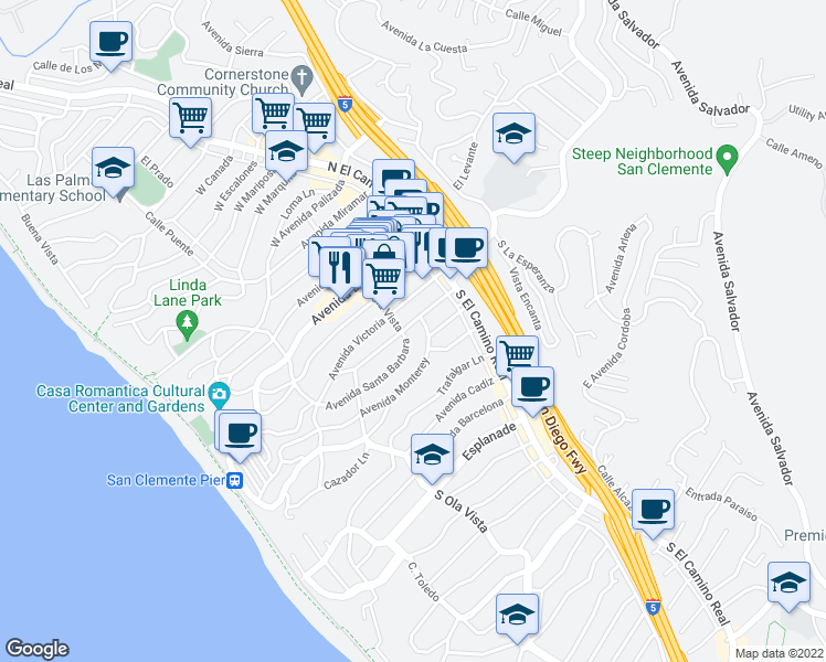 map of restaurants, bars, coffee shops, grocery stores, and more near 159 Avenida Rosa in San Clemente
