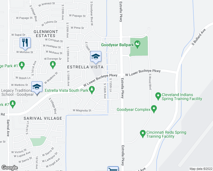 map of restaurants, bars, coffee shops, grocery stores, and more near 2567 South 156th Avenue in Goodyear