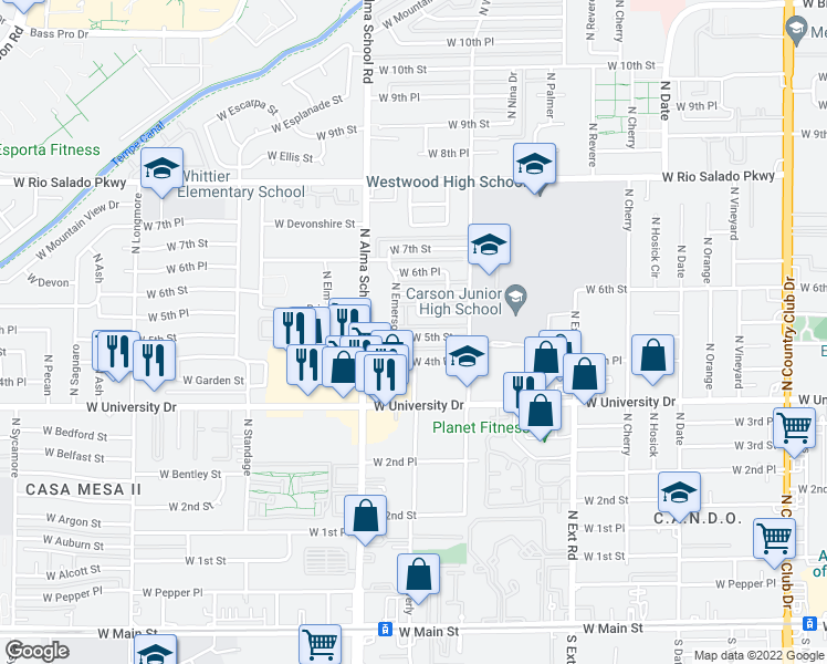 map of restaurants, bars, coffee shops, grocery stores, and more near 1066 West 5th Street in Mesa