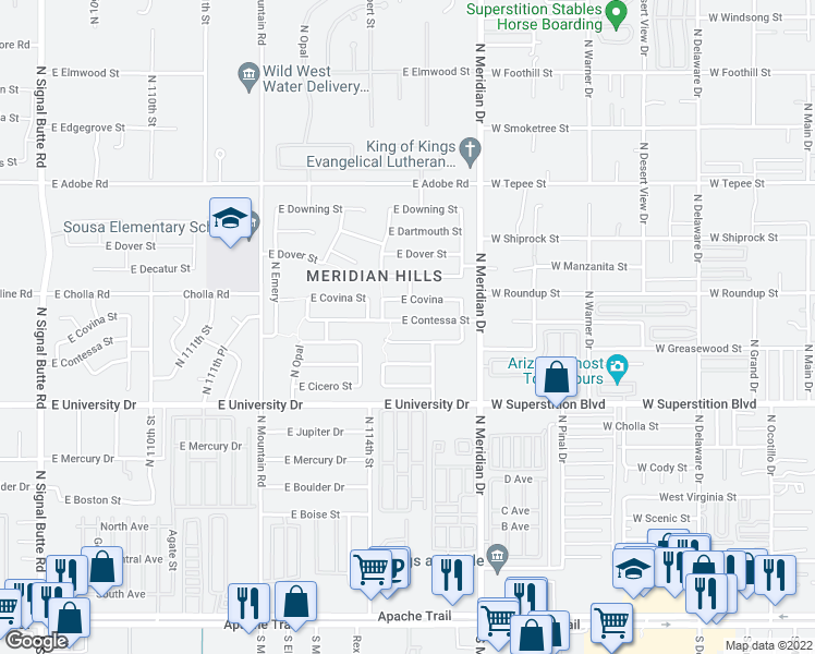 map of restaurants, bars, coffee shops, grocery stores, and more near 11445 East Contessa Street in Mesa