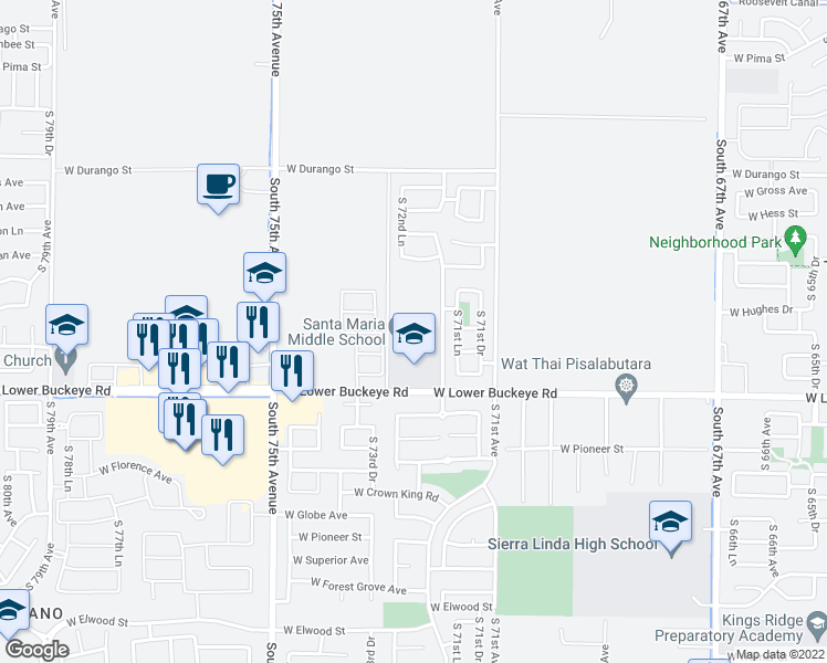 map of restaurants, bars, coffee shops, grocery stores, and more near 7250 West Lower Buckeye Road in Phoenix