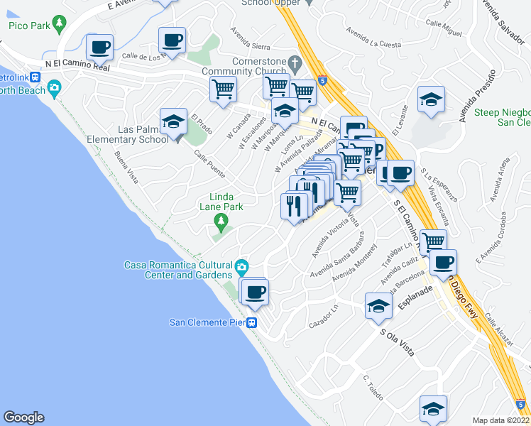 map of restaurants, bars, coffee shops, grocery stores, and more near 248 West Avenida Palizada in San Clemente