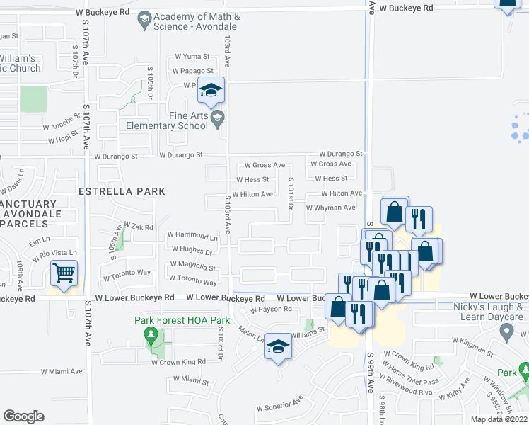 map of restaurants, bars, coffee shops, grocery stores, and more near 10205 West Whyman Avenue in Tolleson
