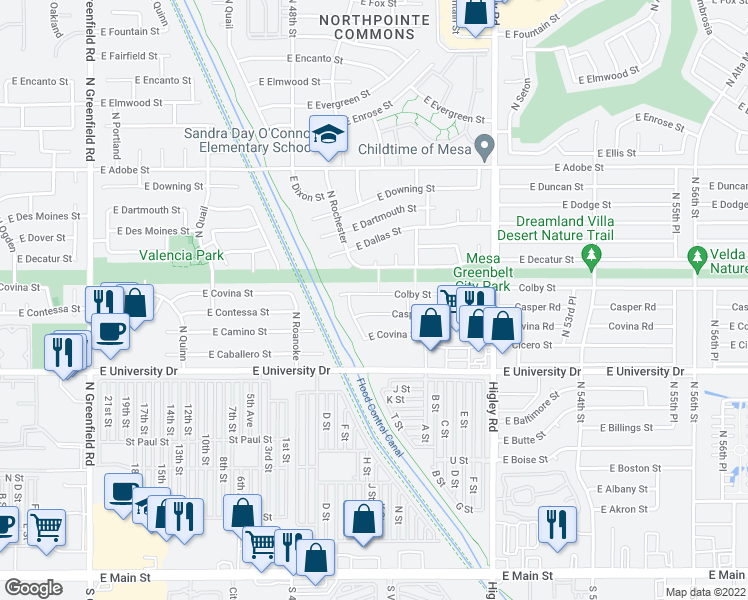 map of restaurants, bars, coffee shops, grocery stores, and more near 4945 Colby Street in Mesa
