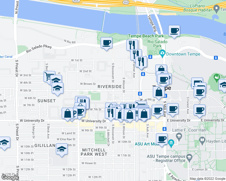 map of restaurants, bars, coffee shops, grocery stores, and more near 406 South Roosevelt Street in Tempe