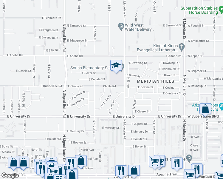 map of restaurants, bars, coffee shops, grocery stores, and more near 11100-11198 East Cholla Street in Mesa
