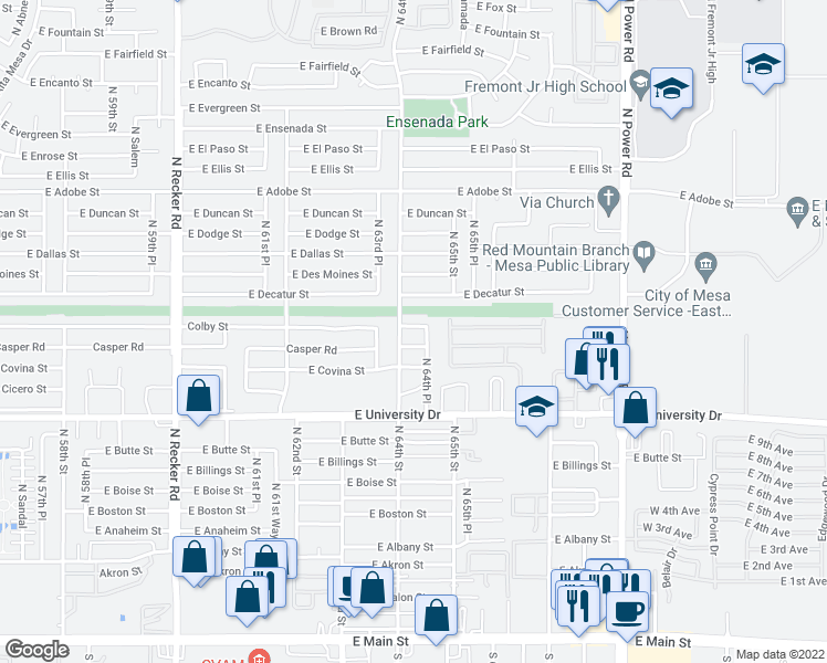 map of restaurants, bars, coffee shops, grocery stores, and more near 6425 Colby Street in Mesa