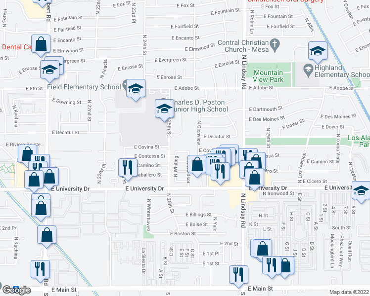 map of restaurants, bars, coffee shops, grocery stores, and more near 2554 East Contessa Street in Mesa