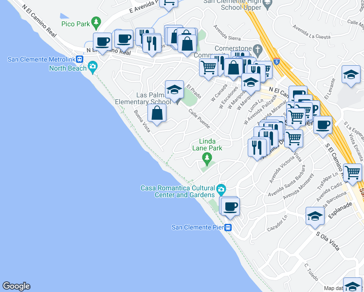 map of restaurants, bars, coffee shops, grocery stores, and more near 237 West Escalones in San Clemente