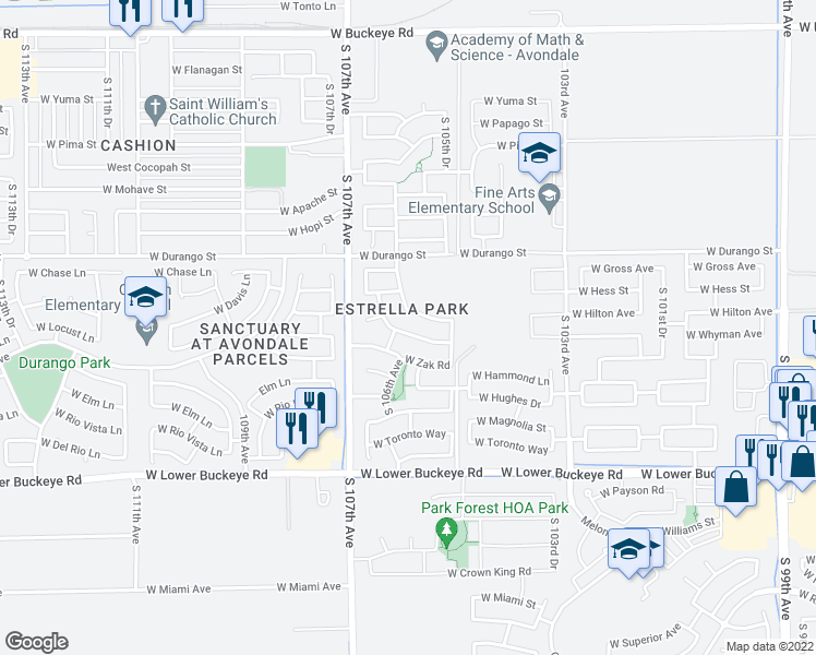 map of restaurants, bars, coffee shops, grocery stores, and more near 10602 West Whyman Avenue in Tolleson