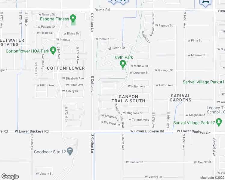 map of restaurants, bars, coffee shops, grocery stores, and more near 16969 West Shiloh Avenue in Goodyear