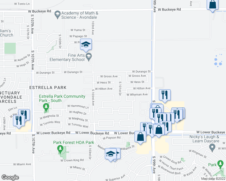map of restaurants, bars, coffee shops, grocery stores, and more near 10143 West Hilton Avenue in Tolleson
