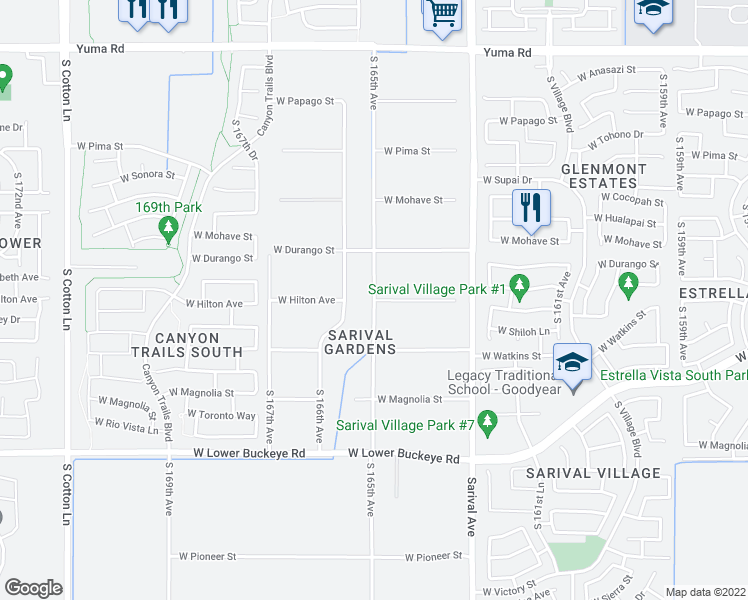map of restaurants, bars, coffee shops, grocery stores, and more near West Hilton Avenue in Goodyear