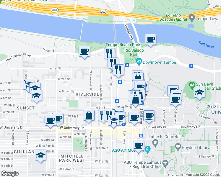 map of restaurants, bars, coffee shops, grocery stores, and more near 354 South Farmer Avenue in Tempe