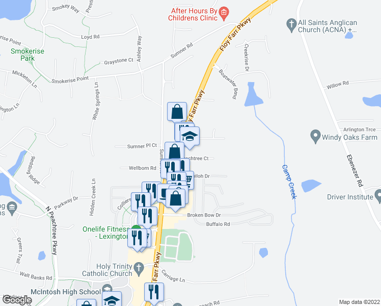 map of restaurants, bars, coffee shops, grocery stores, and more near 113 Peachtree Court in Fayetteville