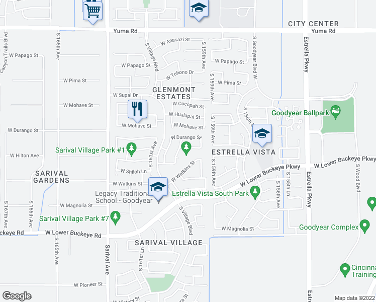 map of restaurants, bars, coffee shops, grocery stores, and more near 16009 West Meade Lane in Goodyear