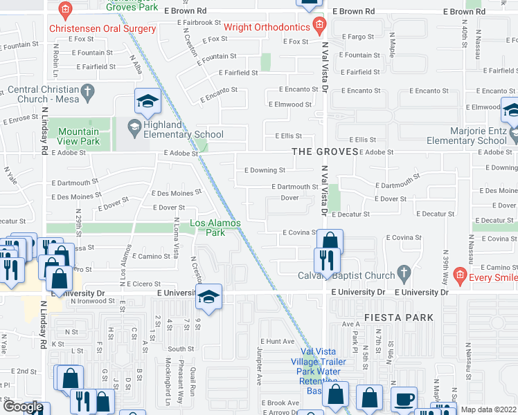 map of restaurants, bars, coffee shops, grocery stores, and more near 622 North Miramar in Mesa