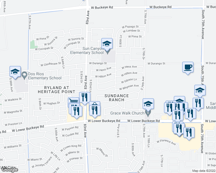 map of restaurants, bars, coffee shops, grocery stores, and more near 8122 West Whyman Avenue in Phoenix