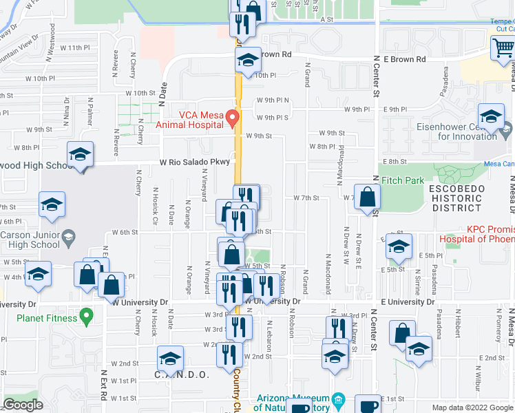 map of restaurants, bars, coffee shops, grocery stores, and more near 645 North Country Club Drive in Mesa