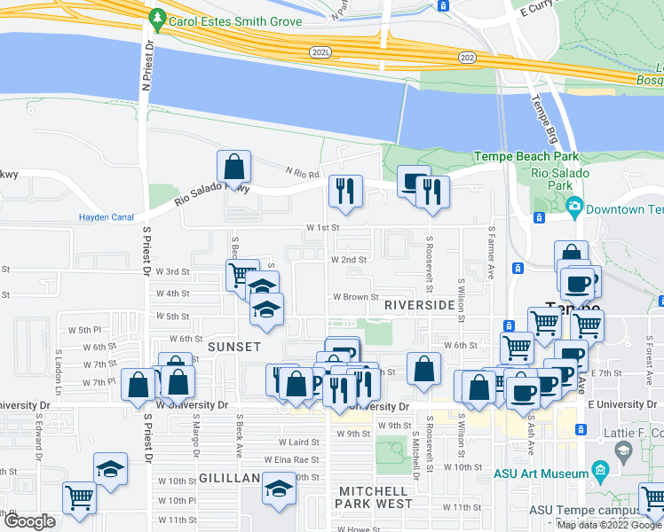 map of restaurants, bars, coffee shops, grocery stores, and more near 909 West 2nd Street in Tempe