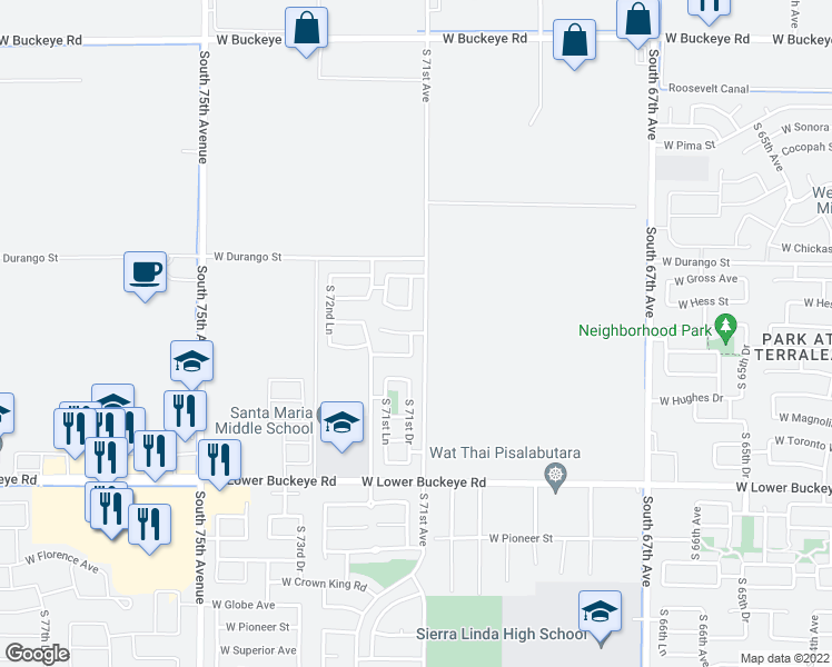 map of restaurants, bars, coffee shops, grocery stores, and more near 7143 West Whyman Avenue in Phoenix