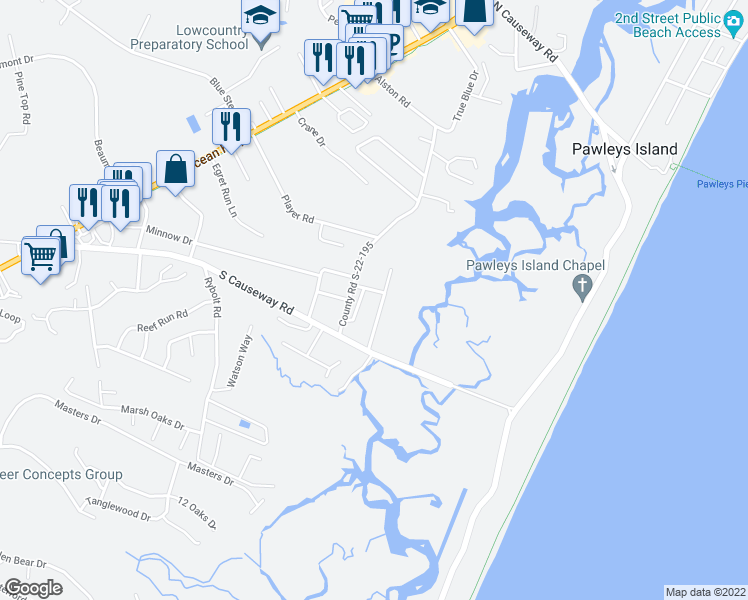 map of restaurants, bars, coffee shops, grocery stores, and more near 125 Wyndham Road in Pawleys Island