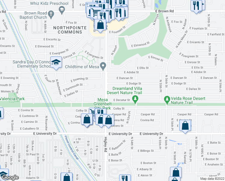 map of restaurants, bars, coffee shops, grocery stores, and more near 5221 East Dallas Street in Mesa