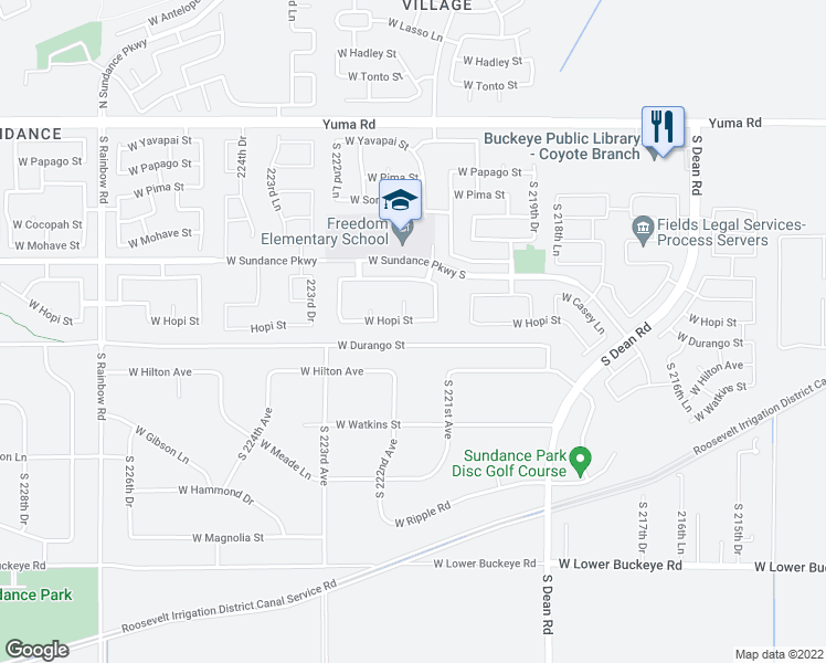 map of restaurants, bars, coffee shops, grocery stores, and more near 22143 West Hopi Street in Buckeye