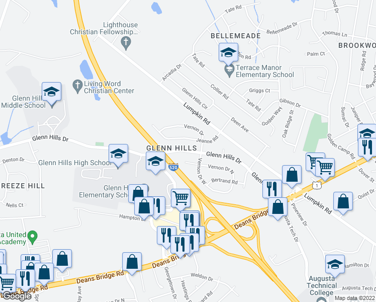 map of restaurants, bars, coffee shops, grocery stores, and more near 2806 Glenn Hills Drive in Augusta