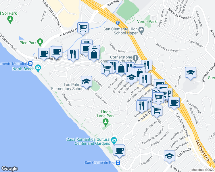 map of restaurants, bars, coffee shops, grocery stores, and more near 128 West Canada in San Clemente