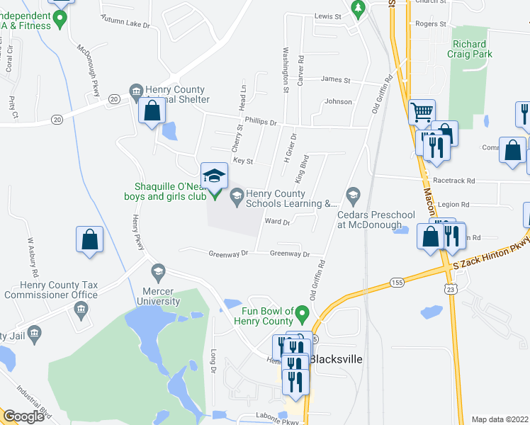 map of restaurants, bars, coffee shops, grocery stores, and more near 2 Ward Drive in Ellenwood