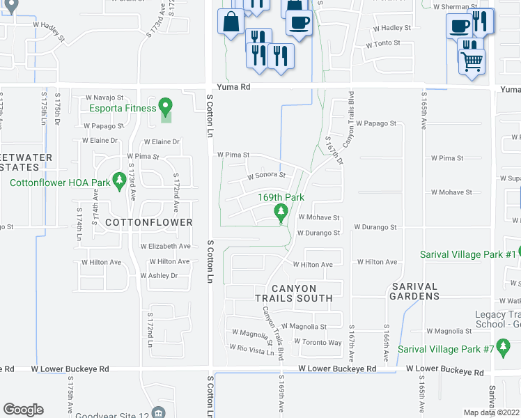 map of restaurants, bars, coffee shops, grocery stores, and more near 16973 West Mohave Street in Goodyear