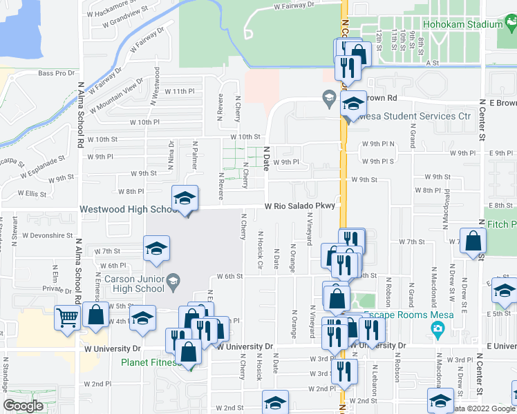 map of restaurants, bars, coffee shops, grocery stores, and more near 740 North Date in Mesa