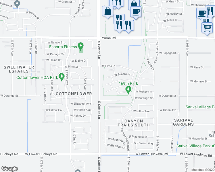 map of restaurants, bars, coffee shops, grocery stores, and more near 17047 West Cocopah Street in Goodyear