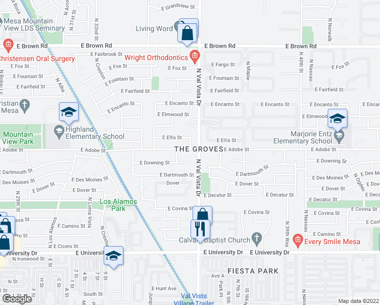 map of restaurants, bars, coffee shops, grocery stores, and more near 3539 East Adobe Street in Mesa