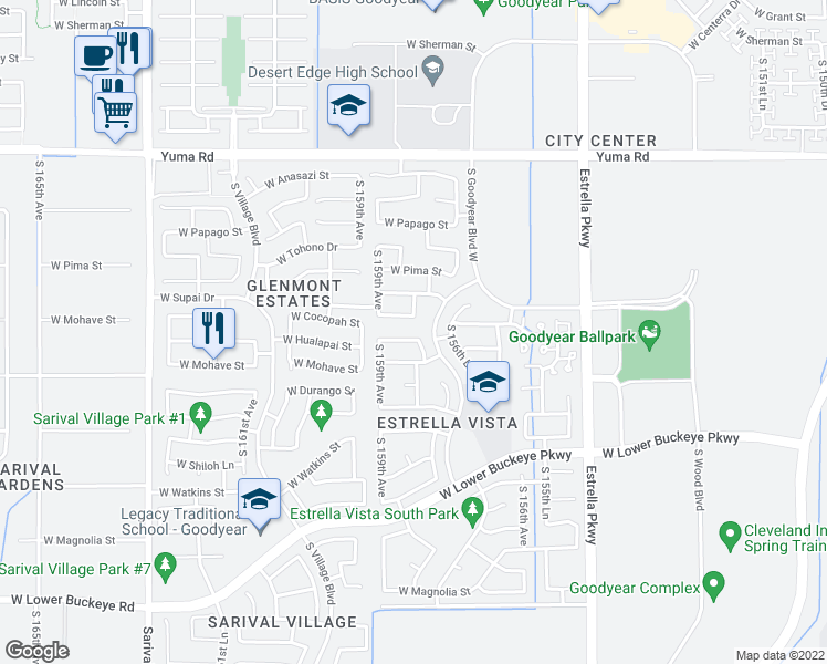 map of restaurants, bars, coffee shops, grocery stores, and more near 15812 West Cocopah Street in Goodyear