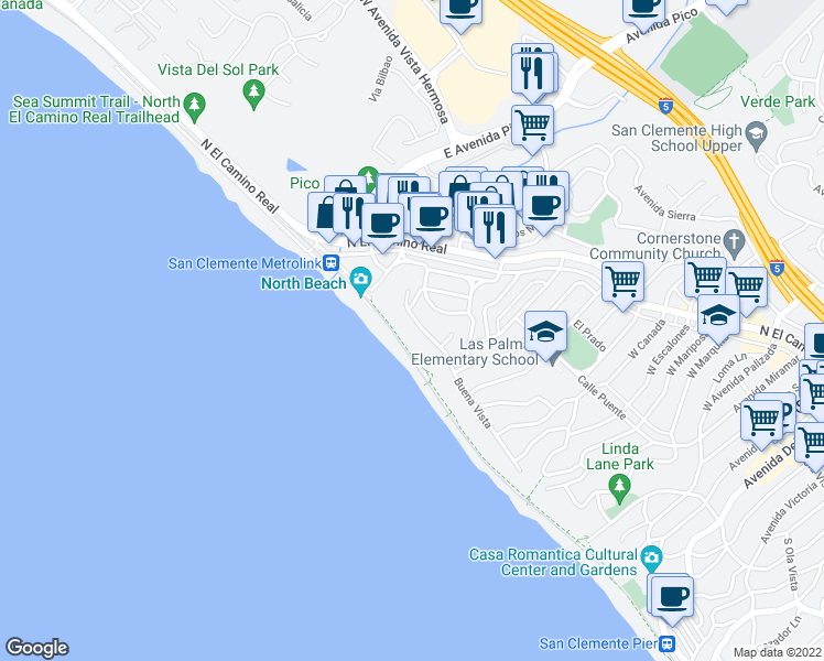 map of restaurants, bars, coffee shops, grocery stores, and more near 1515 Buena Vista in San Clemente